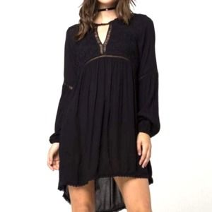 Patrons of Peace Boho Lace Black Midi Dress